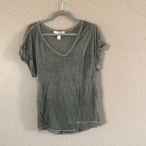 Forever 21 short sleeve olive green shirt sheer
